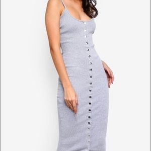 NWOT Missguided Grey Ribbed Midi Popper Dress